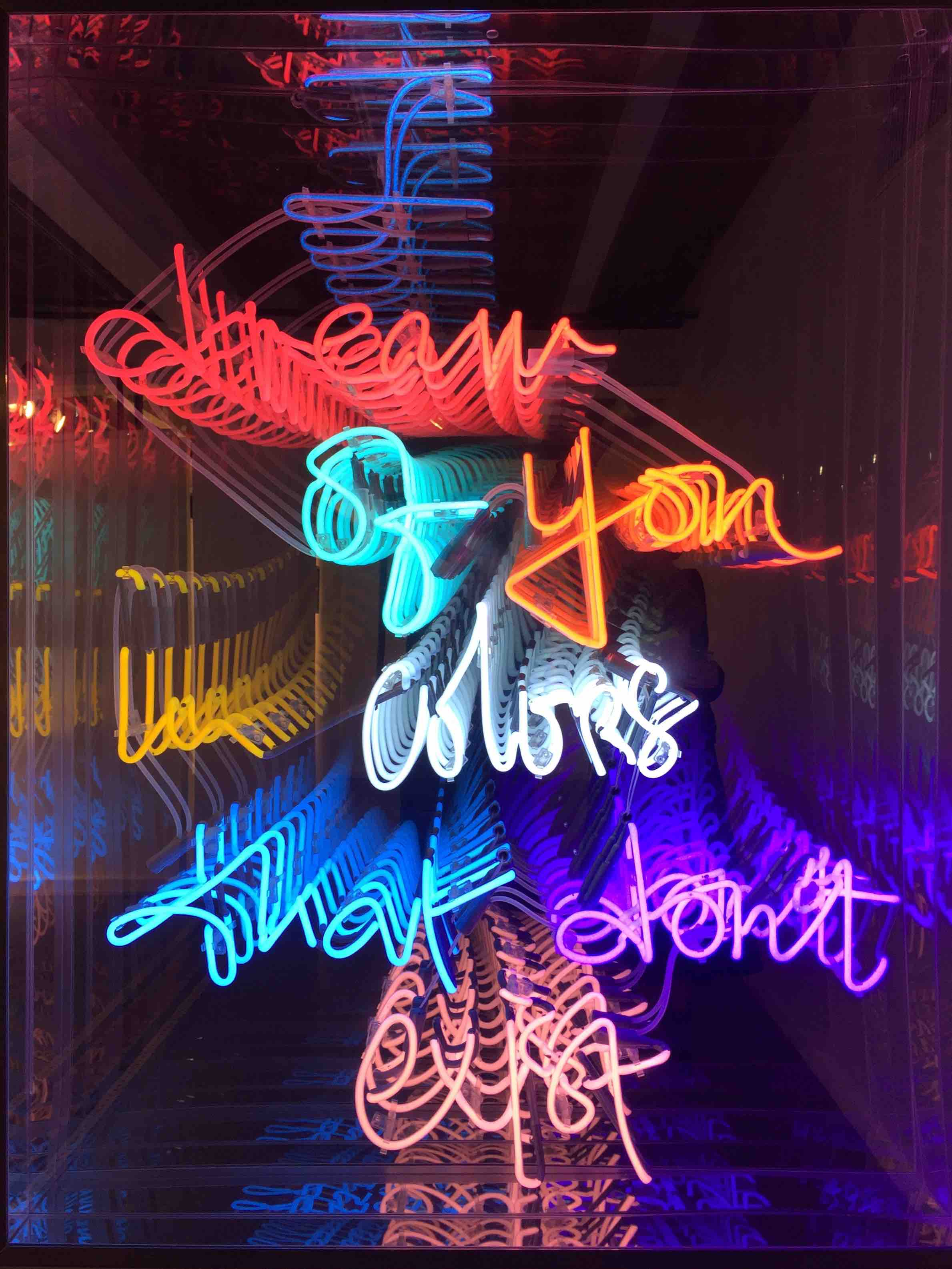 Hand-blown and coloured neon tubes, two way mirror, aluminum 120 x 155 x 10 cm
