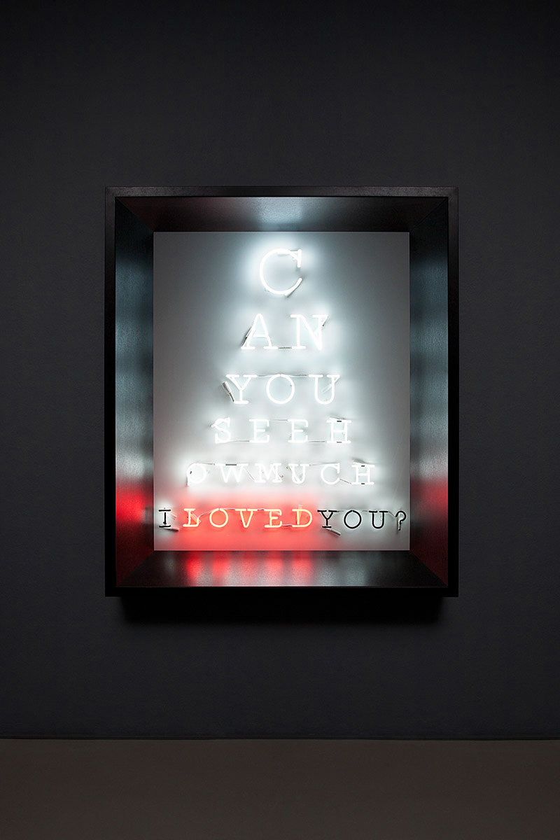 Hand-blown and coloured neon tubes on board, framed, 145 x 116 cm / 57 x 452 / 3 in, 175 x 150 x 24 cm / 69 x 59 x 91 / 2 in, Series: 3