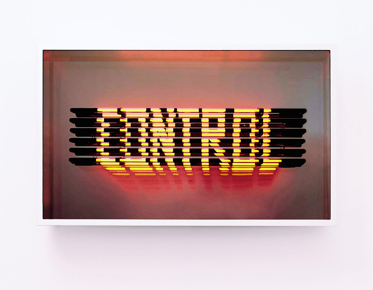 Hand-blown and coloured neon tubes inside stainless steel infinity mirror box