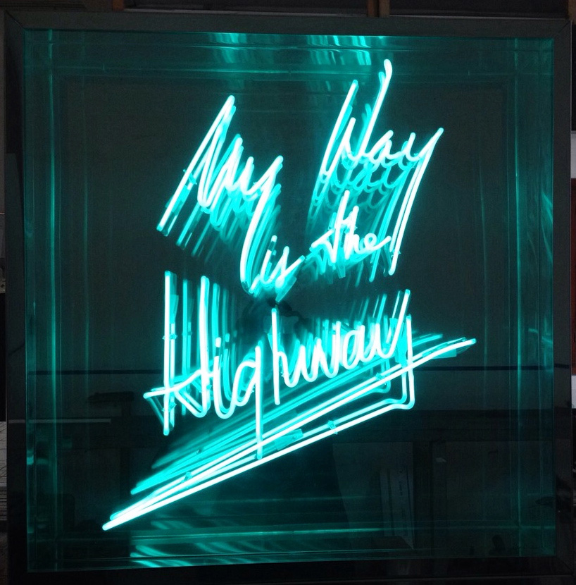 Hand-blown and coloured neon tubing, metal box frame, infinity mirror