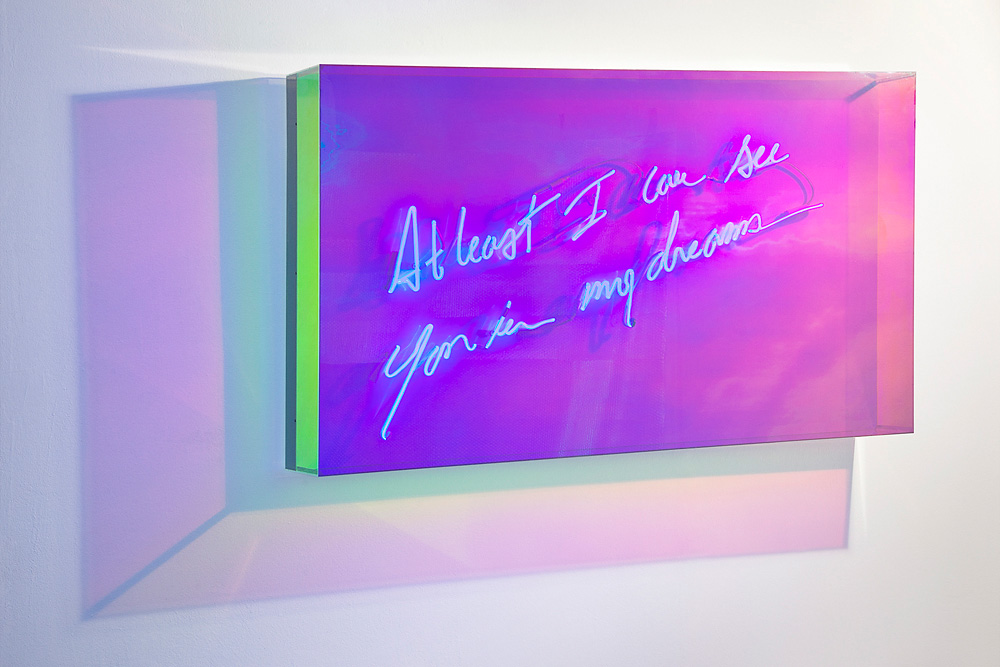 Hand-blown and coloured neon tubes, in radiant plexiglass box