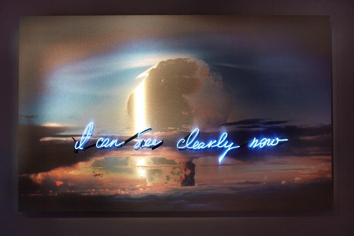 Hand-blown and coloured neon tubes on photographic print on aluminium dibond