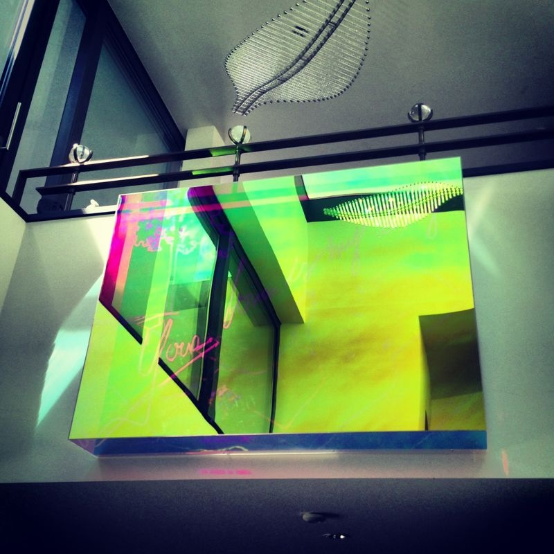 Hand-blown and coloured neon tubes, iridescent coated glass case 180 cm x 120 cm