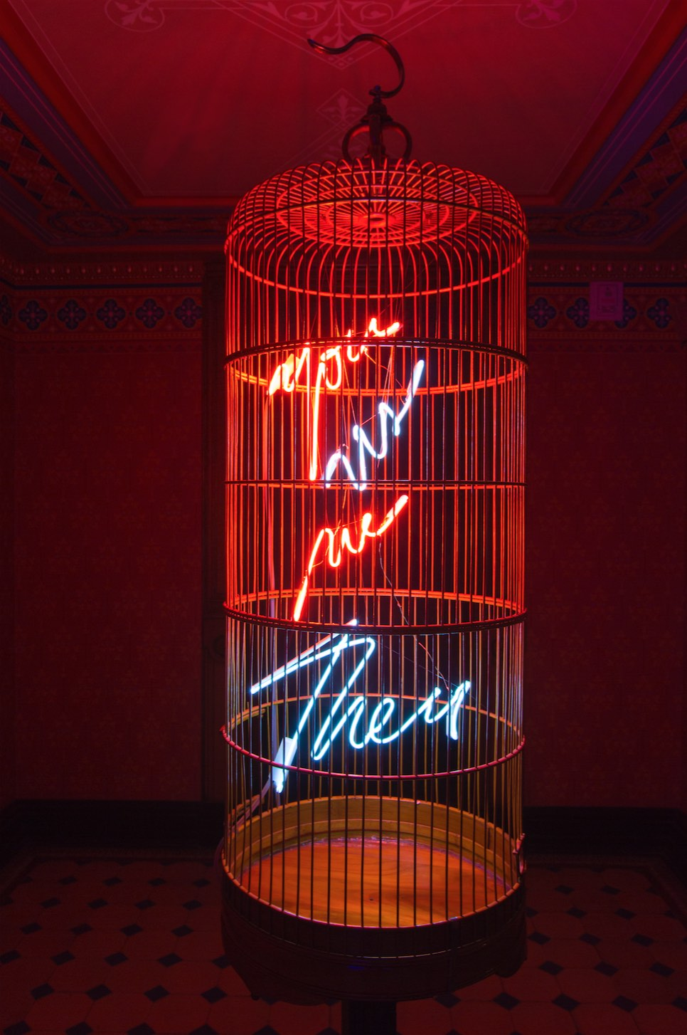 Hand-blown and coloured neon tubes, bamboo cage 114 cm height, ø = 40 cm
